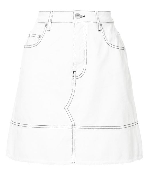 MSGM ステッチ デニムスカート White