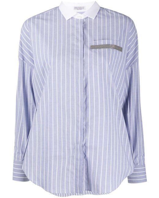 Brunello Cucinelli ストライプシャツ Blue