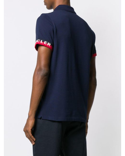 619f12f03 Lyst - Moncler Logo Patch Polo Shirt in Blue for Men