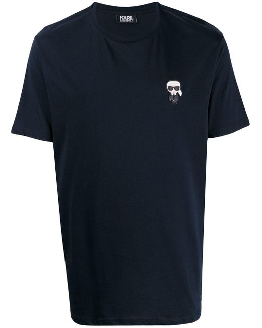 メンズ Karl Lagerfeld Ikonik パッチ Tシャツ Blue