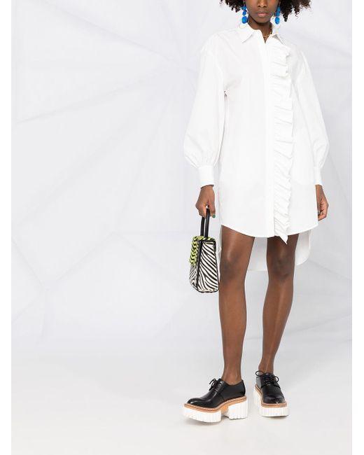 Платье-рубашка С Оборками MSGM, цвет: White