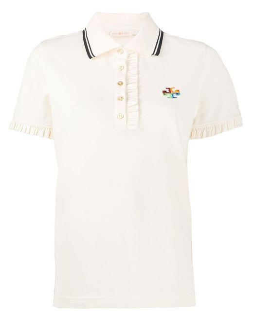 Tory Burch ラッフルトリム ポロシャツ White