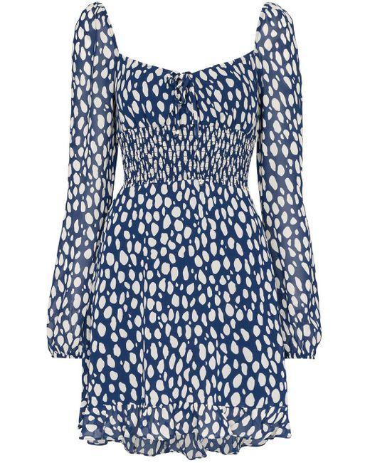 Reformation Mini-jurk Met Luipaardprint in het Blue