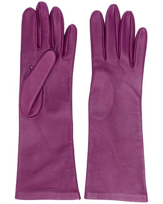 Saint Laurent ロゴ 手袋 Purple