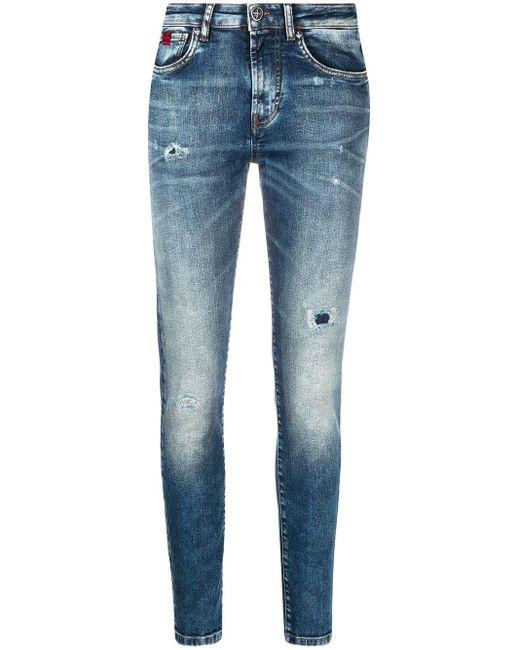 John Richmond Blue Halbhohe Skinny-Jeans
