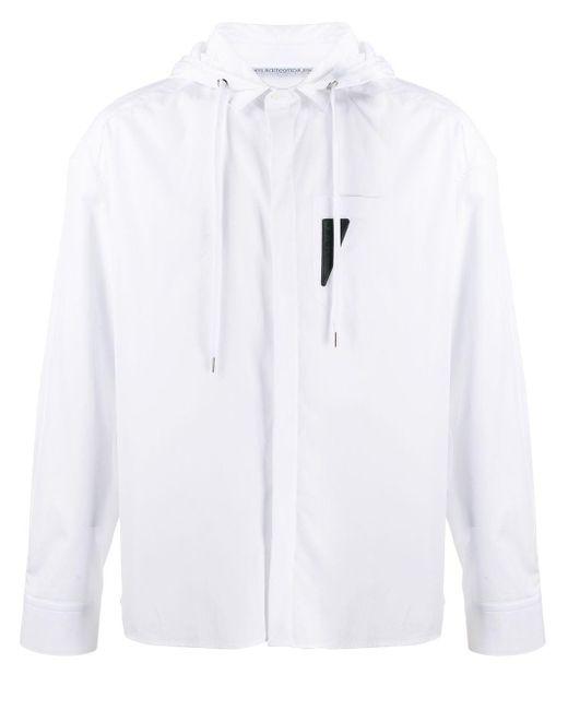 メンズ Neil Barrett ロゴパッチ フーデッドシャツ White