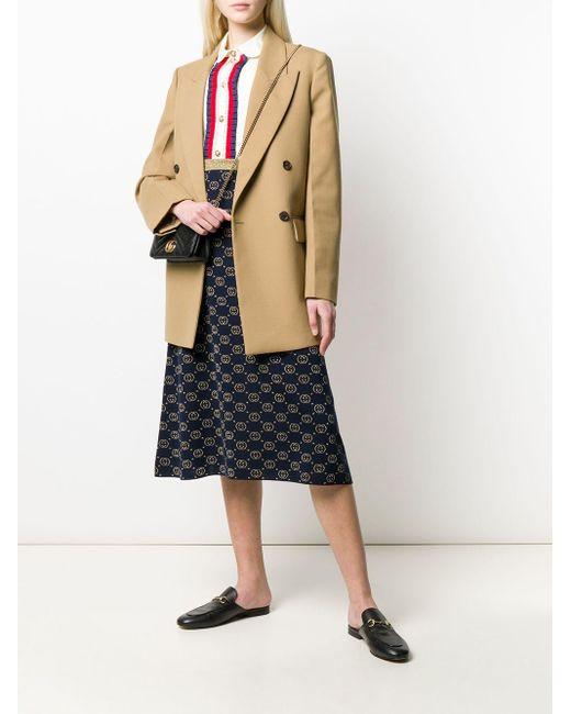 Gucci ネイビー And ゴールド ウール GG スカート Blue