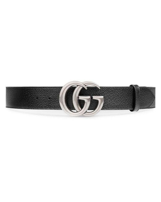 Gucci Black Cintura In Pelle Con Fibbia Doppia G for men