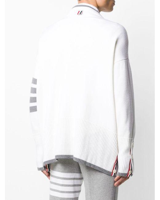 メンズ Thom Browne オーバーサイズ Vネックカーディガン White