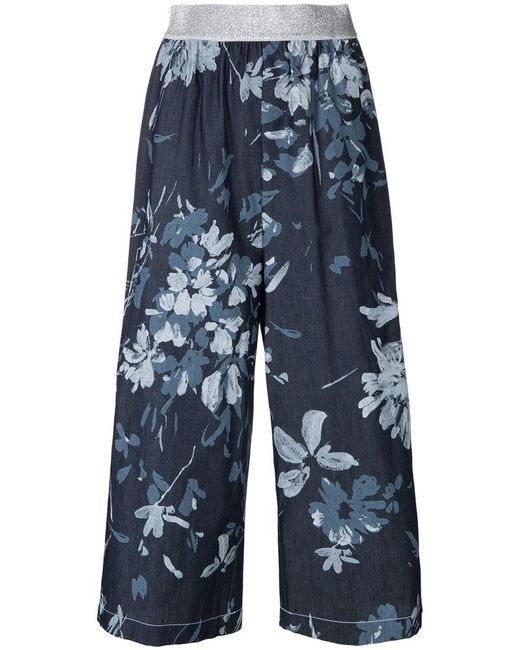 I'm Isola Marras - Blue Cropped Floral Print Trousers - Lyst