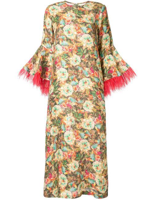 Платье-кафтан Camelia С Перьями Bambah, цвет: Multicolor