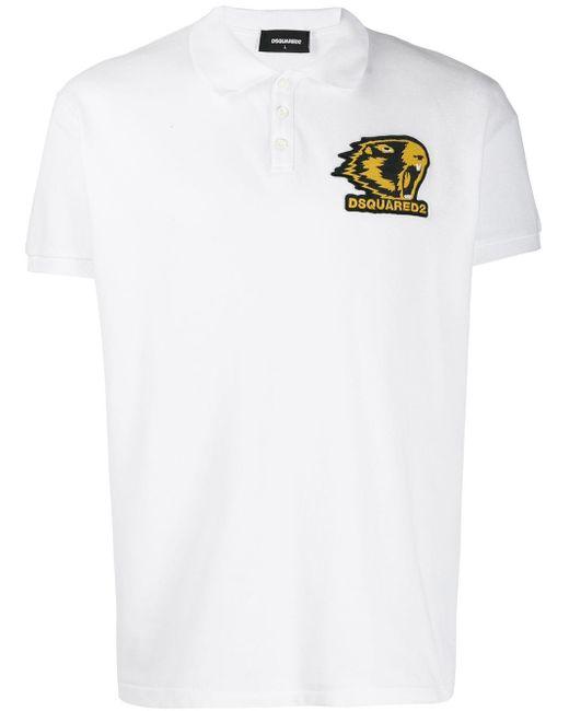 メンズ DSquared² ロゴパッチ ポロシャツ White