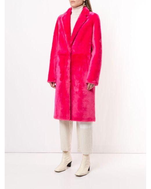 Yves Salomon ファートリム シングルコート Pink
