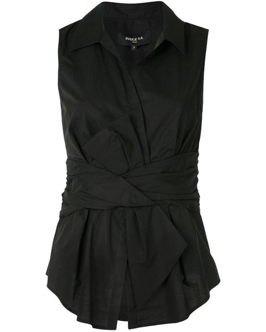 Paule Ka リボン ノースリーブシャツ Black