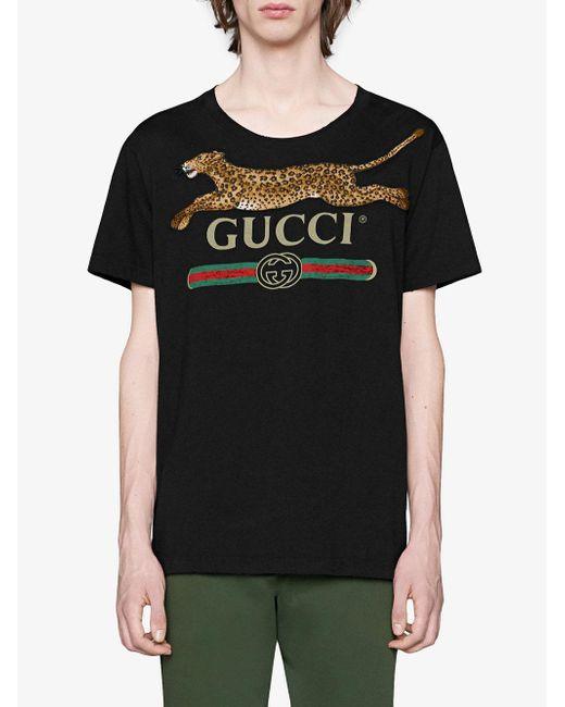 T shirt à logo et appliqué léopard Coton Gucci pour homme en