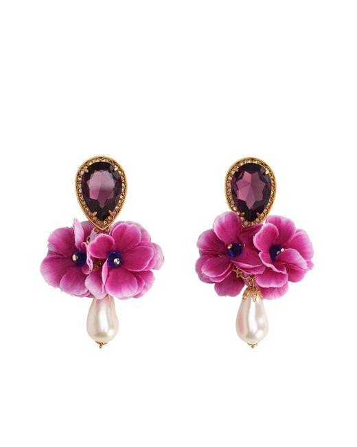 Dolce & Gabbana Pink Floral-motif Clip-on Earrings