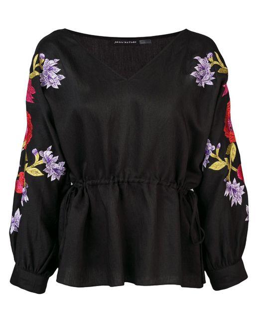 Josie Natori Camisa con bordado floral de mujer de color negro 0Smrj