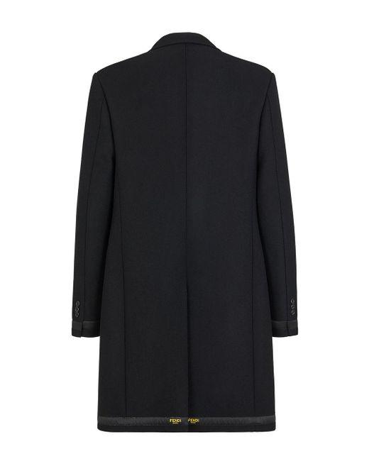 メンズ Fendi ロゴ シングルコート Black