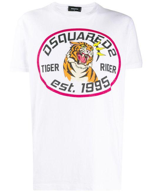 メンズ DSquared² Tiger Rider Tシャツ White