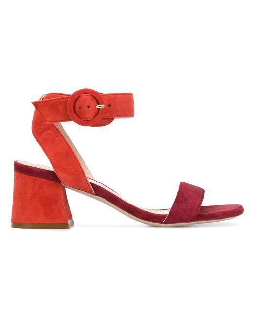 Stuart Weitzman - Red Open-toe Heeled Sandals - Lyst