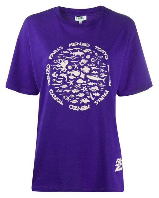メンズ KENZO プリント Tシャツ Purple