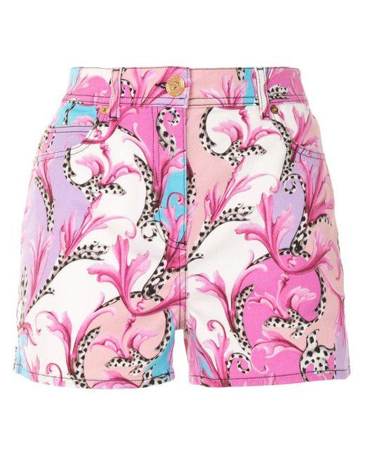 Versace バロッコ フローラル デニムショートパンツ Pink