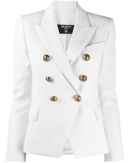Двубортный Блейзер Balmain, цвет: White
