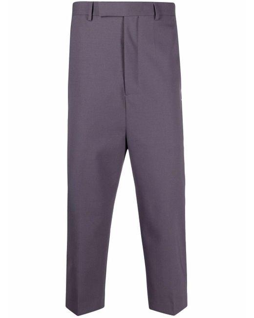 メンズ Rick Owens クロップド テーラードパンツ Purple