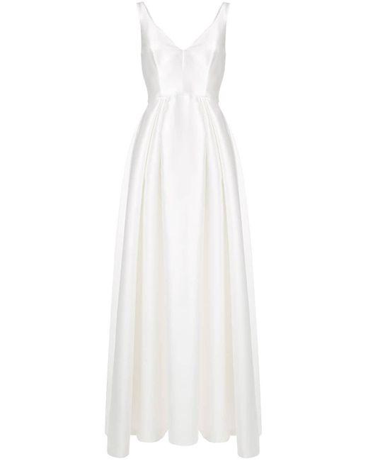Alberta Ferretti Vネック イブニングドレス White