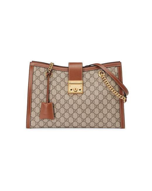 0805ad43f943 Gucci - Brown Padlock GG Supreme Canvas Shoulder Bag - Lyst ...