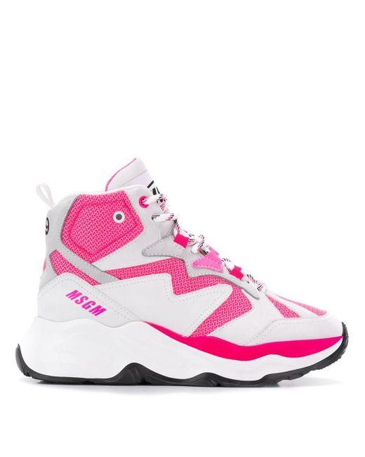MSGM Attack ハイカット スニーカー Pink