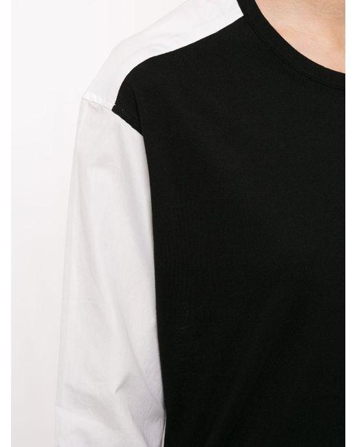 Yohji Yamamoto バイカラー ロングtシャツ Black