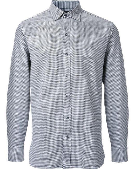 Kent & Curwen | Gray Houndstooth Print Poplin Shirt for Men | Lyst