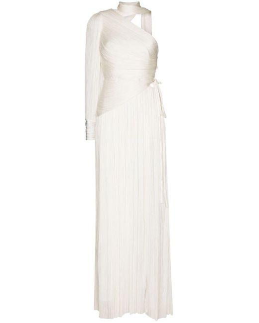 Maria Lucia Hohan Raveena ワンショルダーシルクドレス White