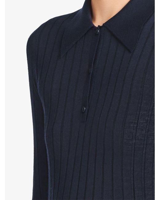 Prada リブニット ポロシャツ Blue