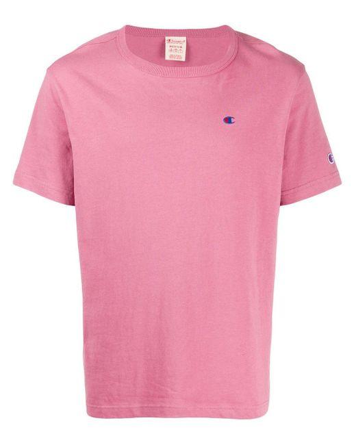 メンズ Champion ロゴ Tシャツ Pink