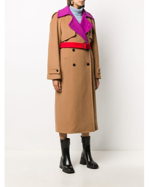 Двубортное Пальто В Стиле Колор-блок MSGM, цвет: Multicolor