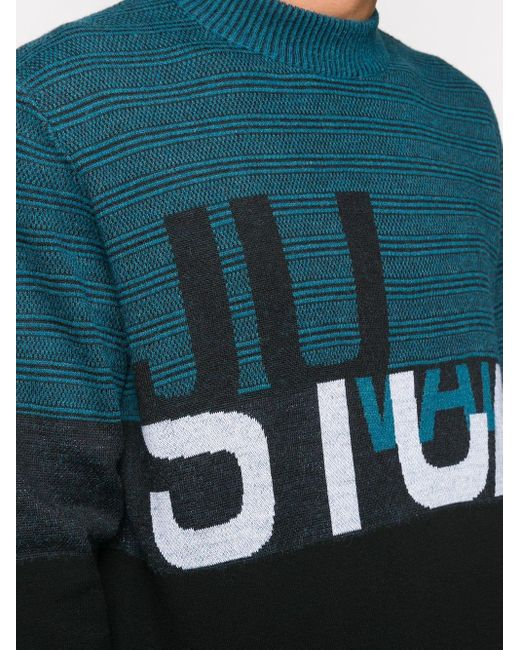 メンズ Just Cavalli ストライプ ロゴ セーター Blue