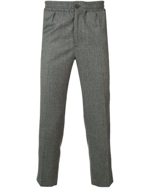 メンズ AMI Elasticized Waist Cropped Fit Trousers Gray