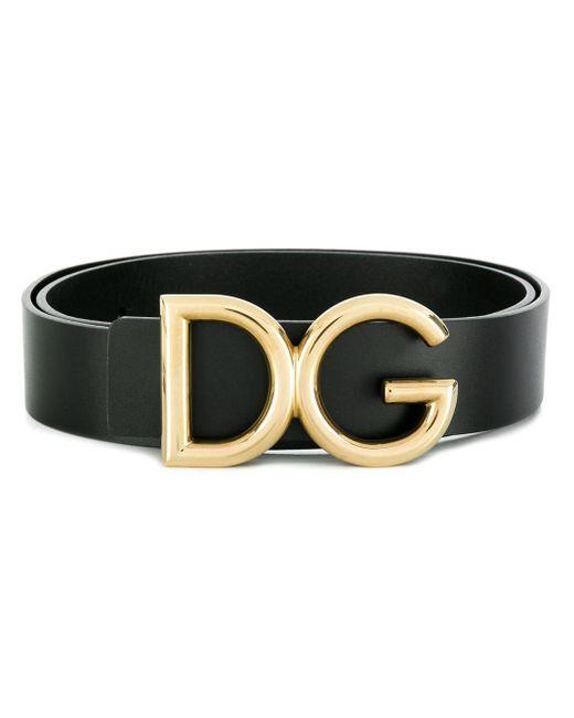 メンズ Dolce & Gabbana ロゴプレート ベルト Black