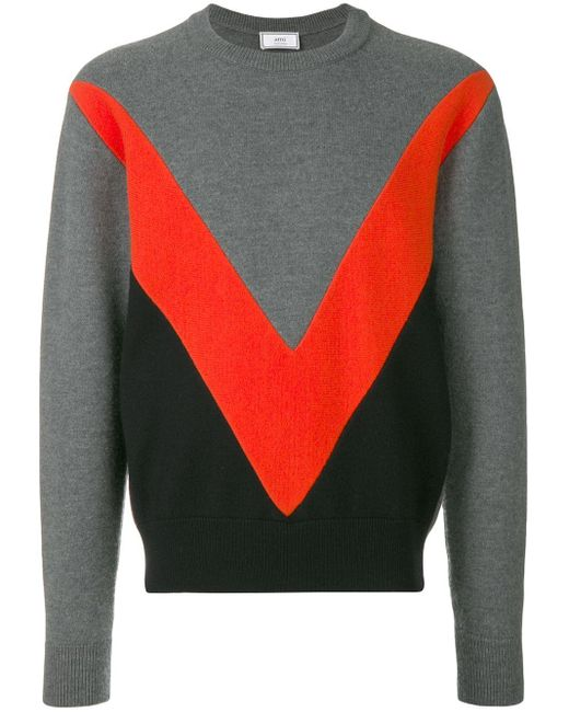 AMI Gray Tricolor Crew Neck Sweater With Contrasted Bands for men