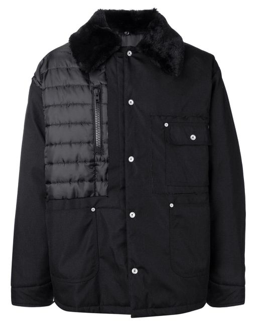 Maison Margiela Black Furry Collared Coat for men