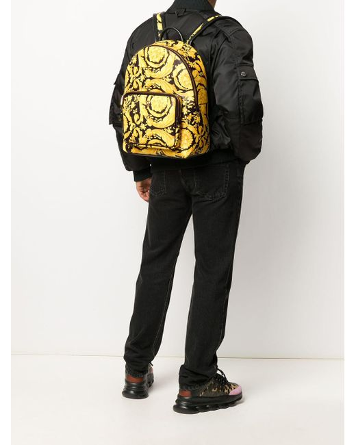 Рюкзак С Принтом Barocco Versace для него, цвет: Yellow