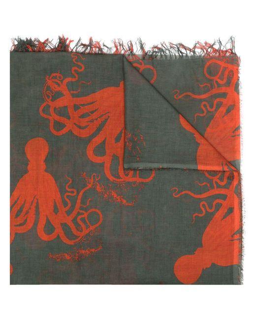 Uma Wang Schal mit Tintenfisch-Print in Green für Herren
