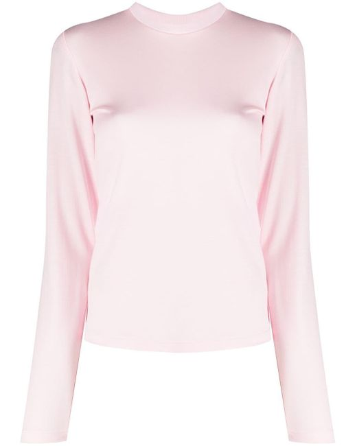 Styland Pink Round Neck Long-sleeve Top