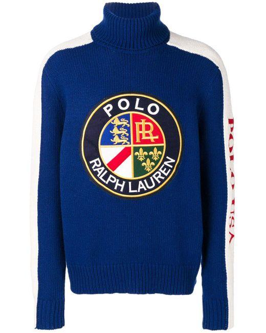 メンズ Polo Ralph Lauren ロゴパッチ セーター Blue