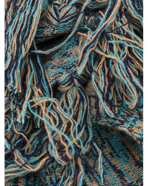 メンズ Pringle of Scotland タッセルヘム スカーフ Blue