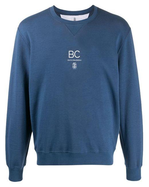 メンズ Brunello Cucinelli ロゴ スウェットシャツ Blue
