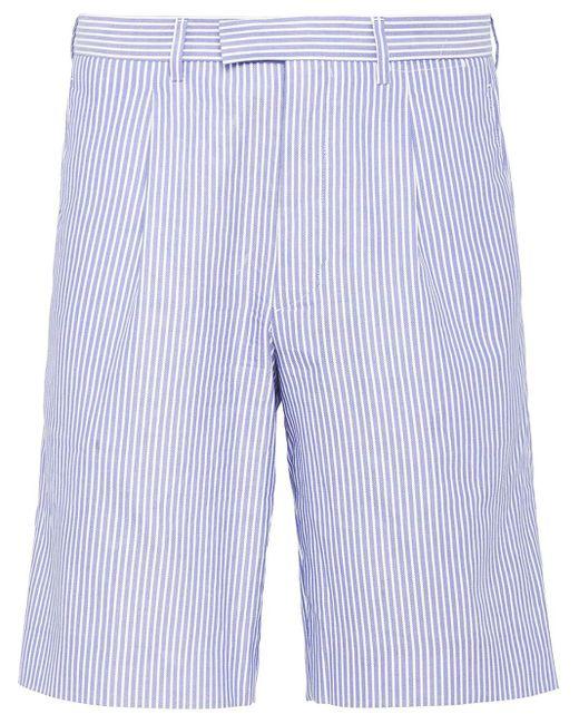 メンズ Prada ストライプ バミューダショーツ Blue