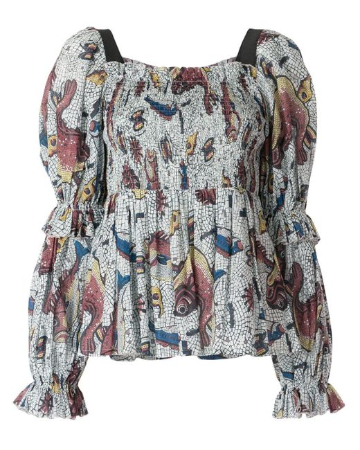 Top Andromeda con estampado de mosaico Karen Walker de color White